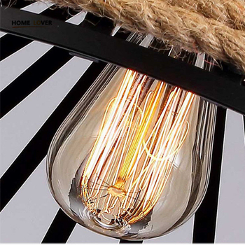 Vintage Rope Pendant Light Lamp Loft Creative Personality Industrial Lamp E27 Edison Bulb light