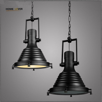 American industrial loft Vintage pendant lights for dining room iron Black  pulley pendant light home lighting - Wellhouselighting.com