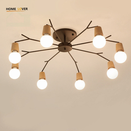 Wireless ceiling lights for living room bedroom children's room Kitchen light led 3/5/8 Lights wooden ceiling lights
