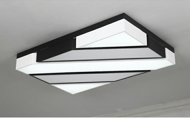 New Dsigner LED ceiling lights black white lamparas de techo metal frame with acrylic cover bedroom dinning lighting