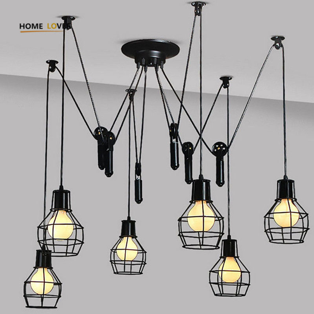 Pendant lights American Country Industrial lighting E27 Edison Bulb lampara colgante de techo 6 Lights Pendant Lamp
