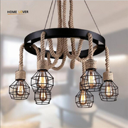 China Vintage pendant lights rope Edison Bulb lamp modern fixtures lighting led industrial iron pipe Antique light retail