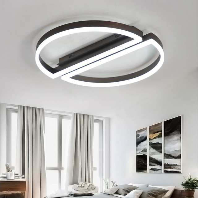 Acrylic Led Ceiling lights with remote control for Living room Bedroom plafonnier led Black White Led Ceiling Lamp
